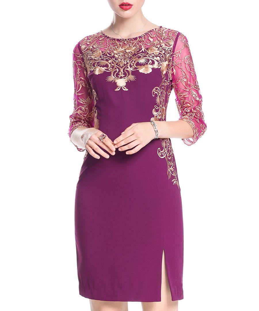 Purple embroidered slit mini dress