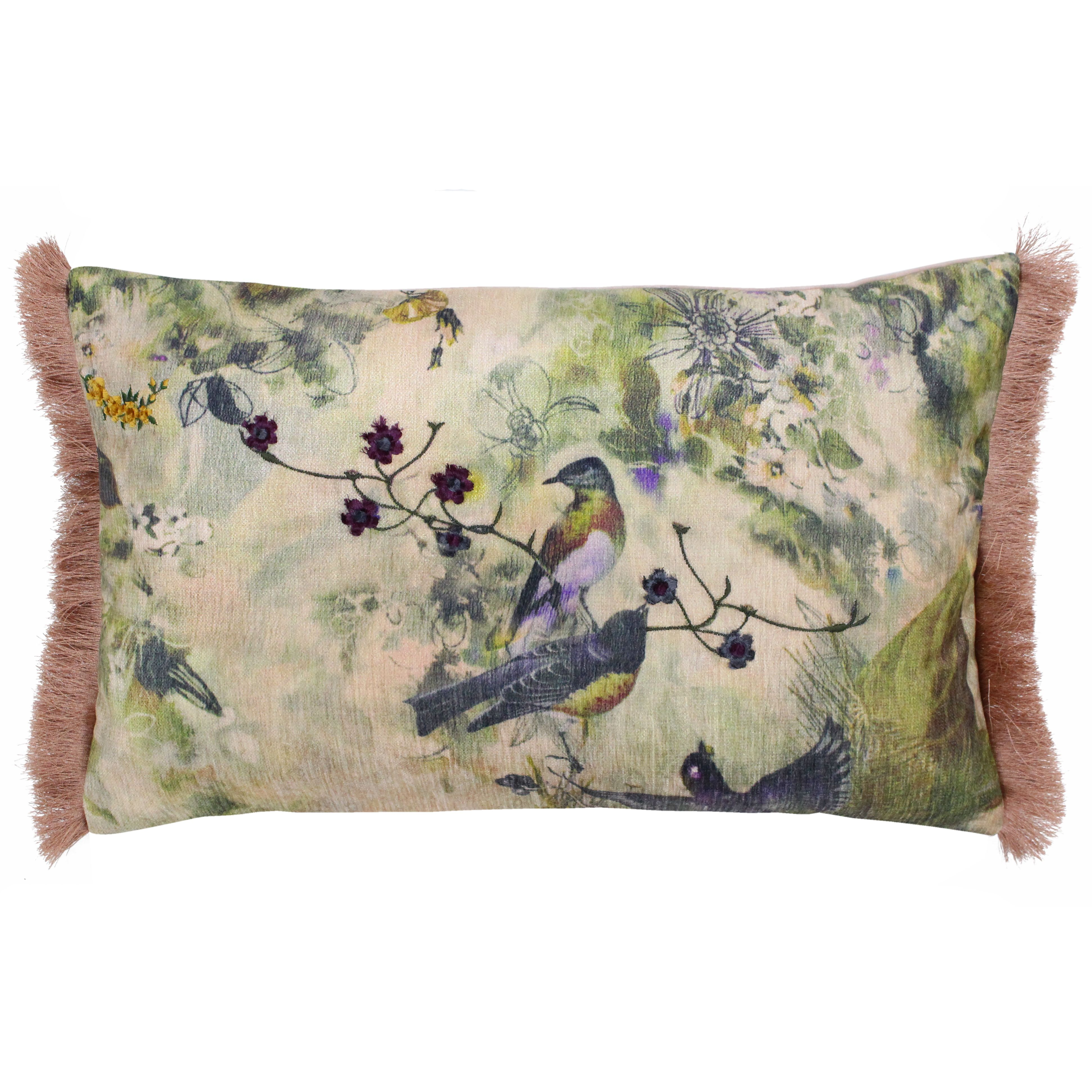 Vintage Birds 30X50 PCushion Blush