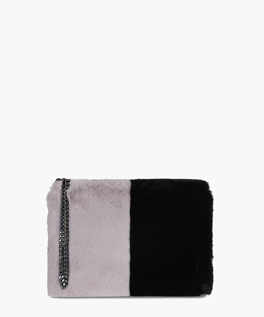 Stephanie The Kempton Collection grey and black clutch