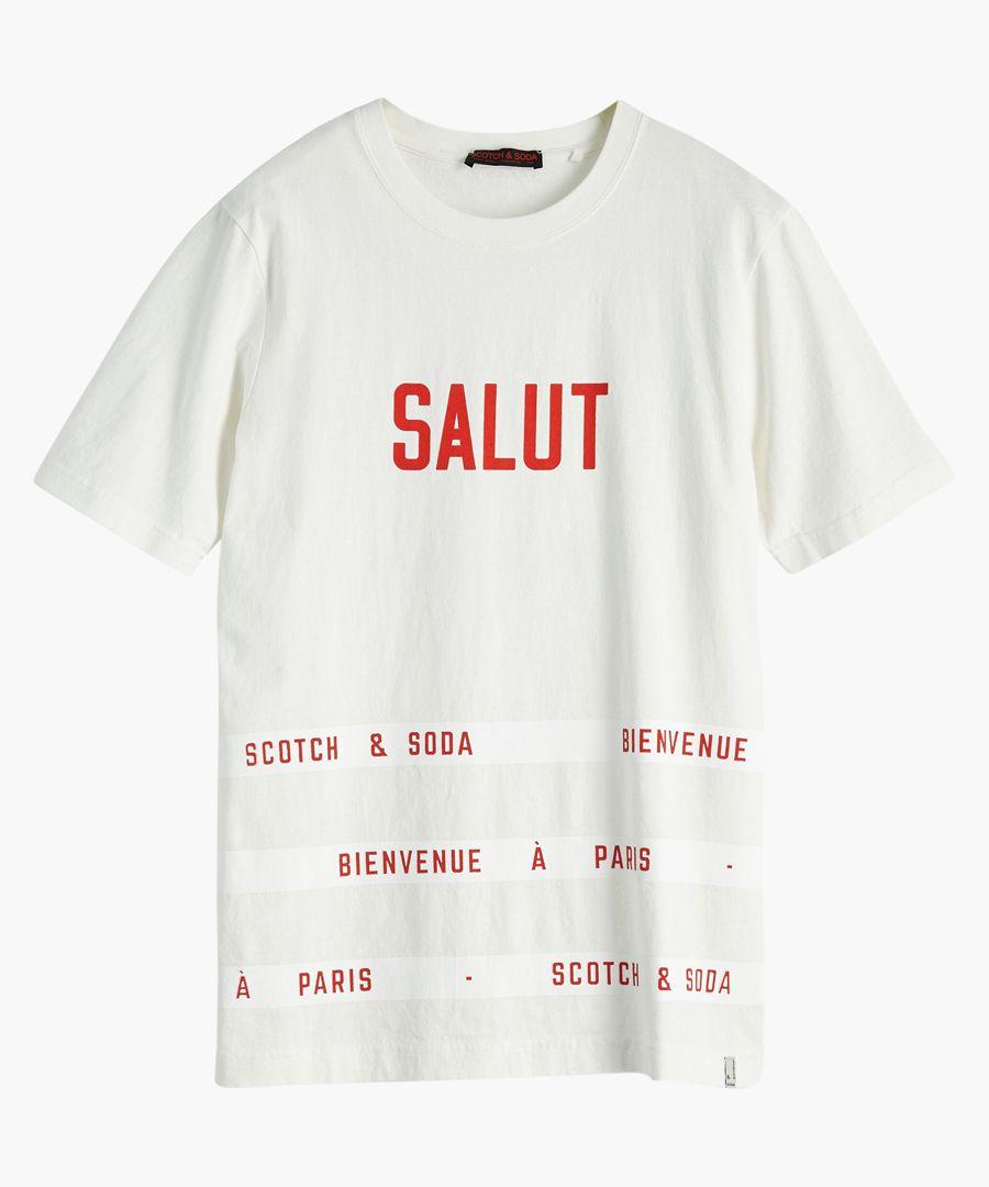 Vintage white cotton crew neck t-shirt