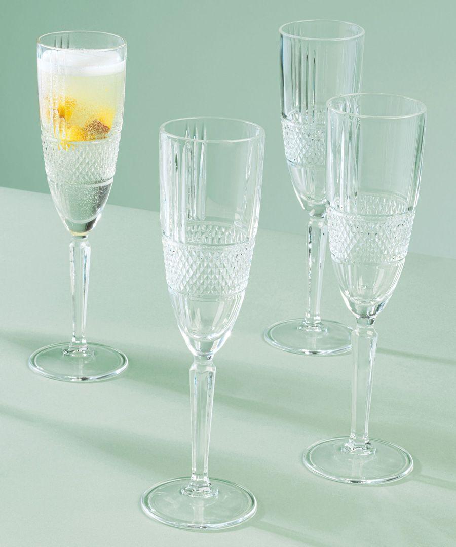 6pc Brillante champagne flutes 185ml