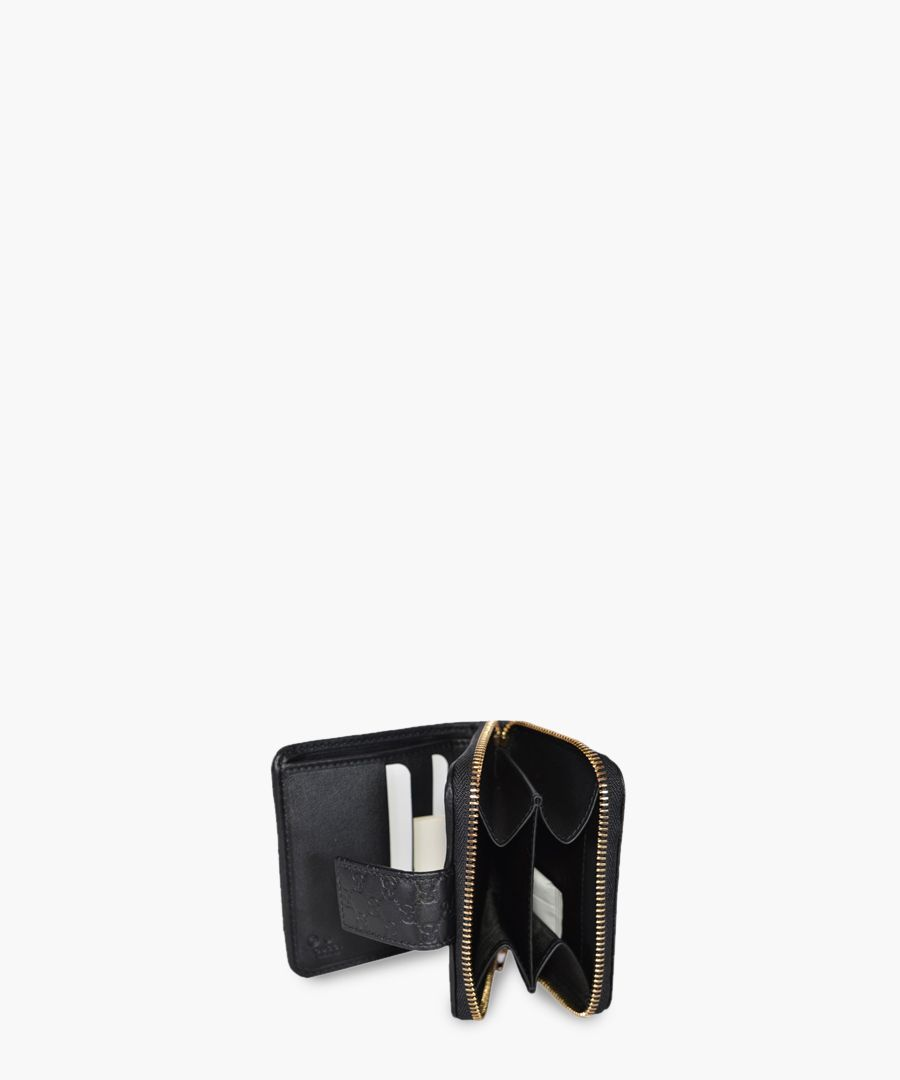 Guccissima black leather short wallet