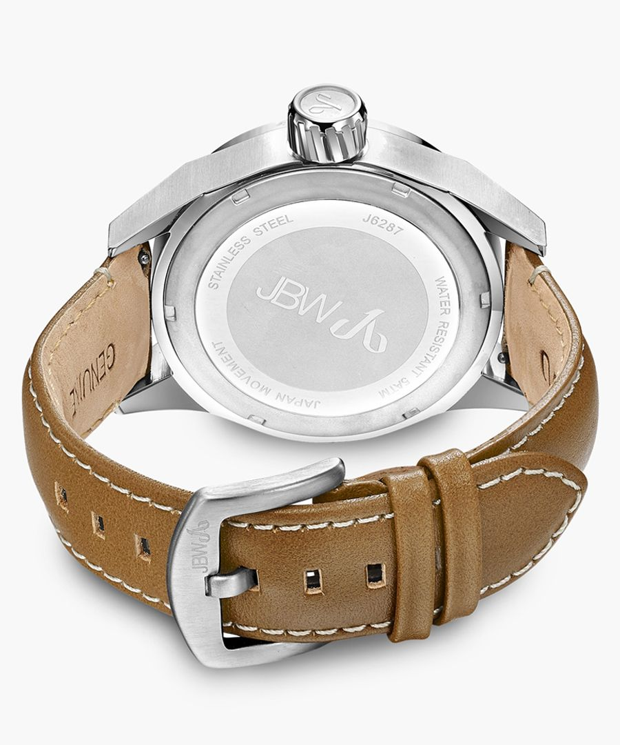 Rook brown leather and stainless steel watch