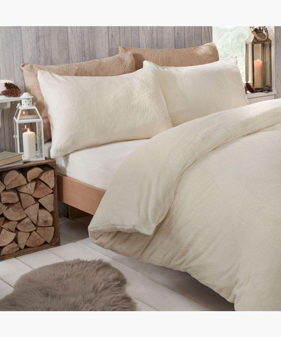 Cream teddy fleece single duvet set