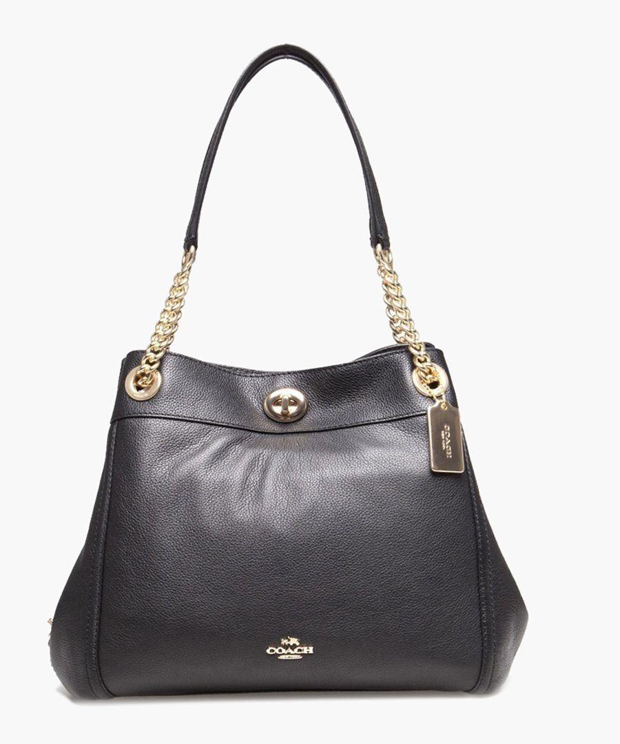 Edie Turnlock black leather shoulder bag