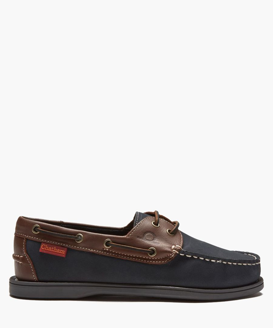Commodore navy and brown leather deck shoes