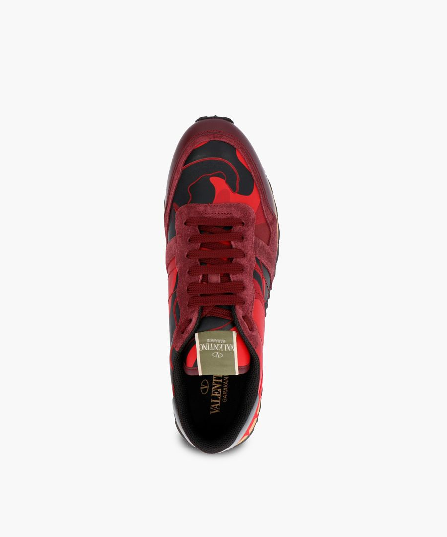 Red leather trainers