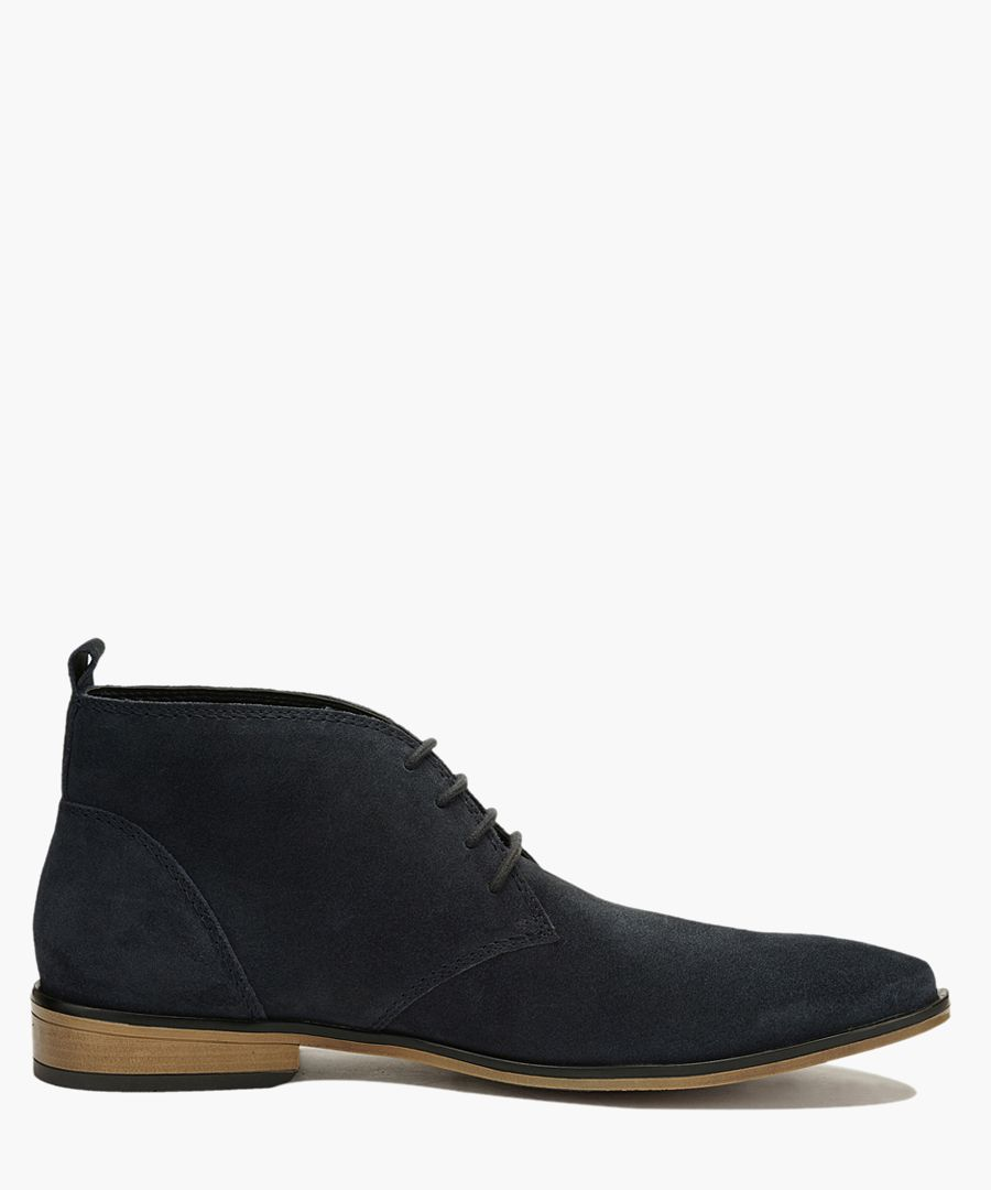 Navy blue suede lace up desert boots