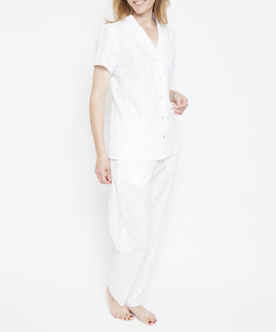 2pc pearl white cotton embroidered pyjama set