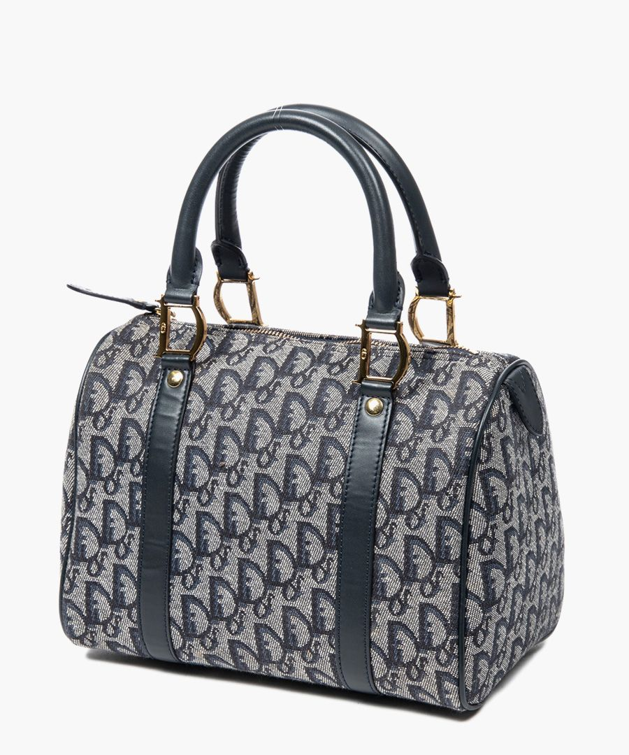 Mini Boston grey and navy canvas grab bag