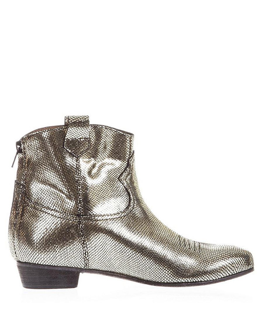 Camperos platinum leather ankle boots