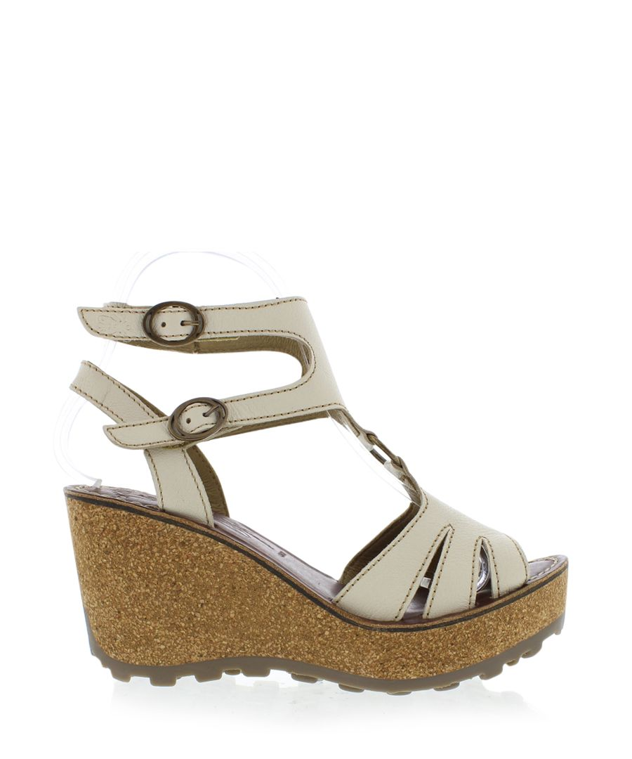 Off white leather wedges
