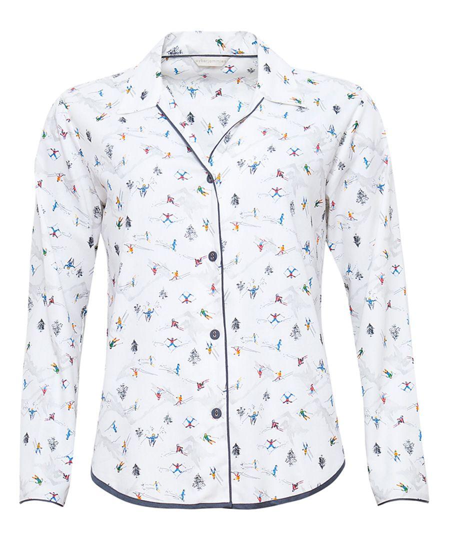 Aspen white cotton-blend ski print pyjama top