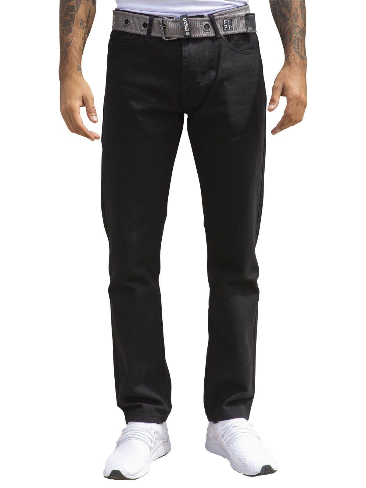 Mens Designer  Regular  Fit Denim Jeans | Enzo Designer Menswear