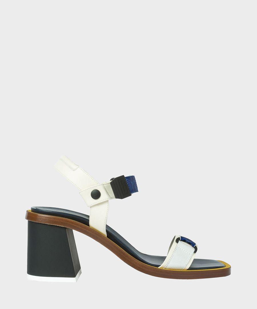 White leather block heels