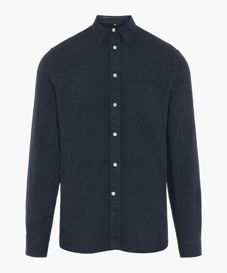 Daniel navy pure linen button-up shirt