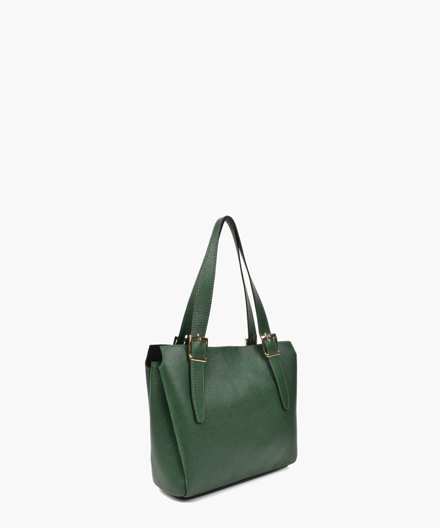 Green leather shopper