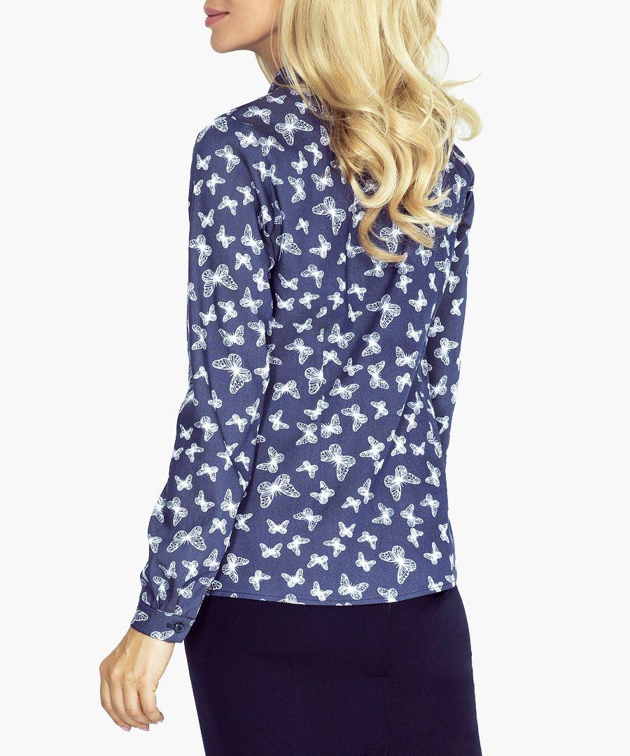 Blue butterfly print neck-tie blouse