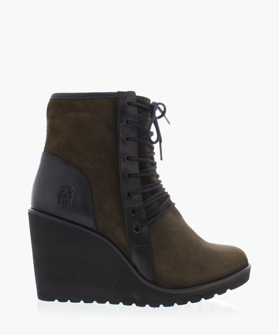 Poet olive brown suede wedge boots
