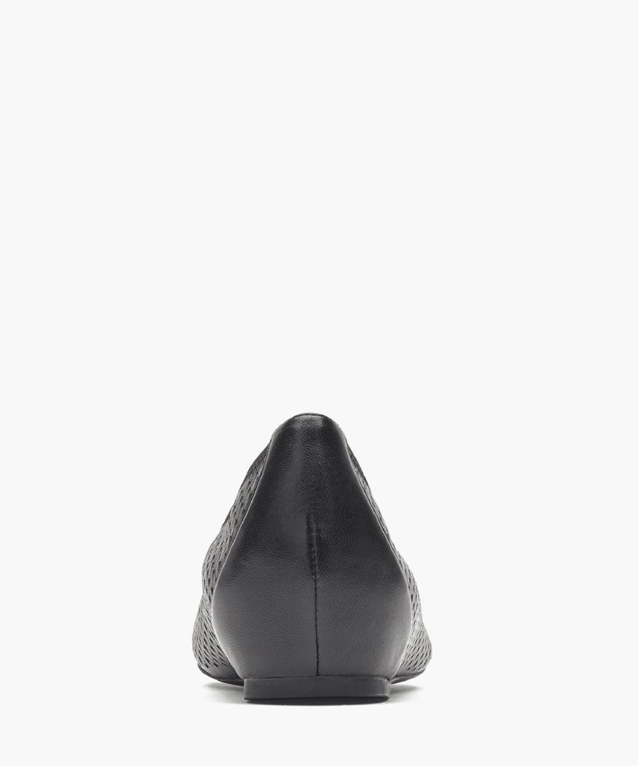 Black leather bow ballet flats