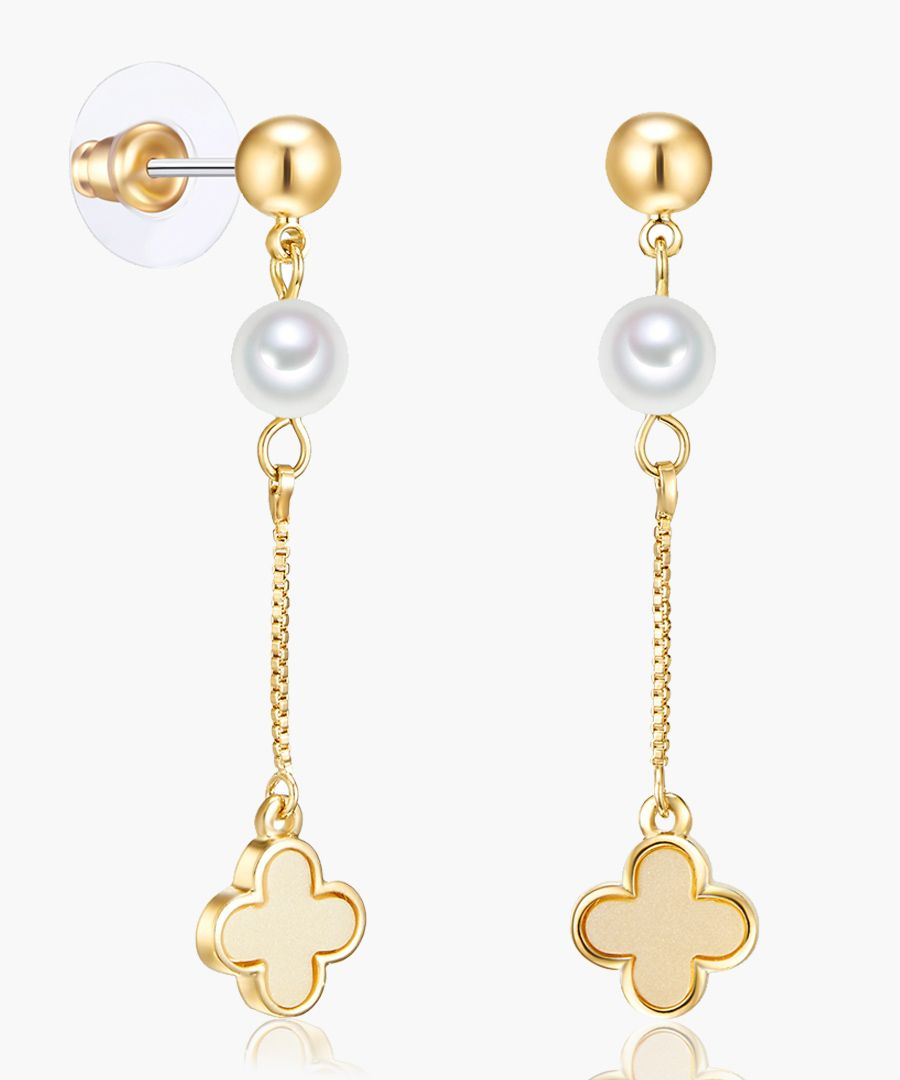 Round pearl Earrings gold
