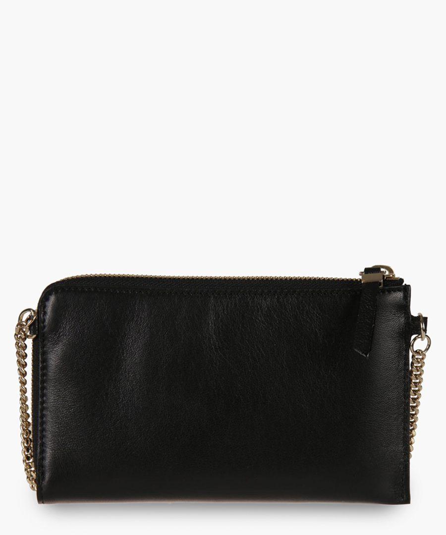 Adelia black leather clutch