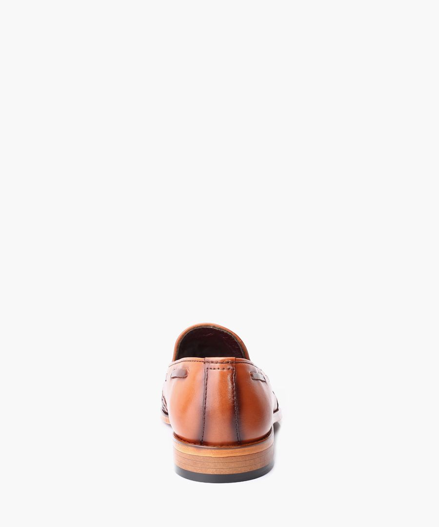 Tan leather loafers