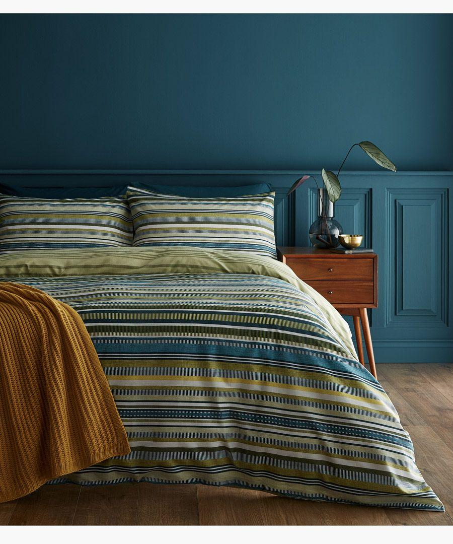 Ravenna stripe green cotton blend double duvet set