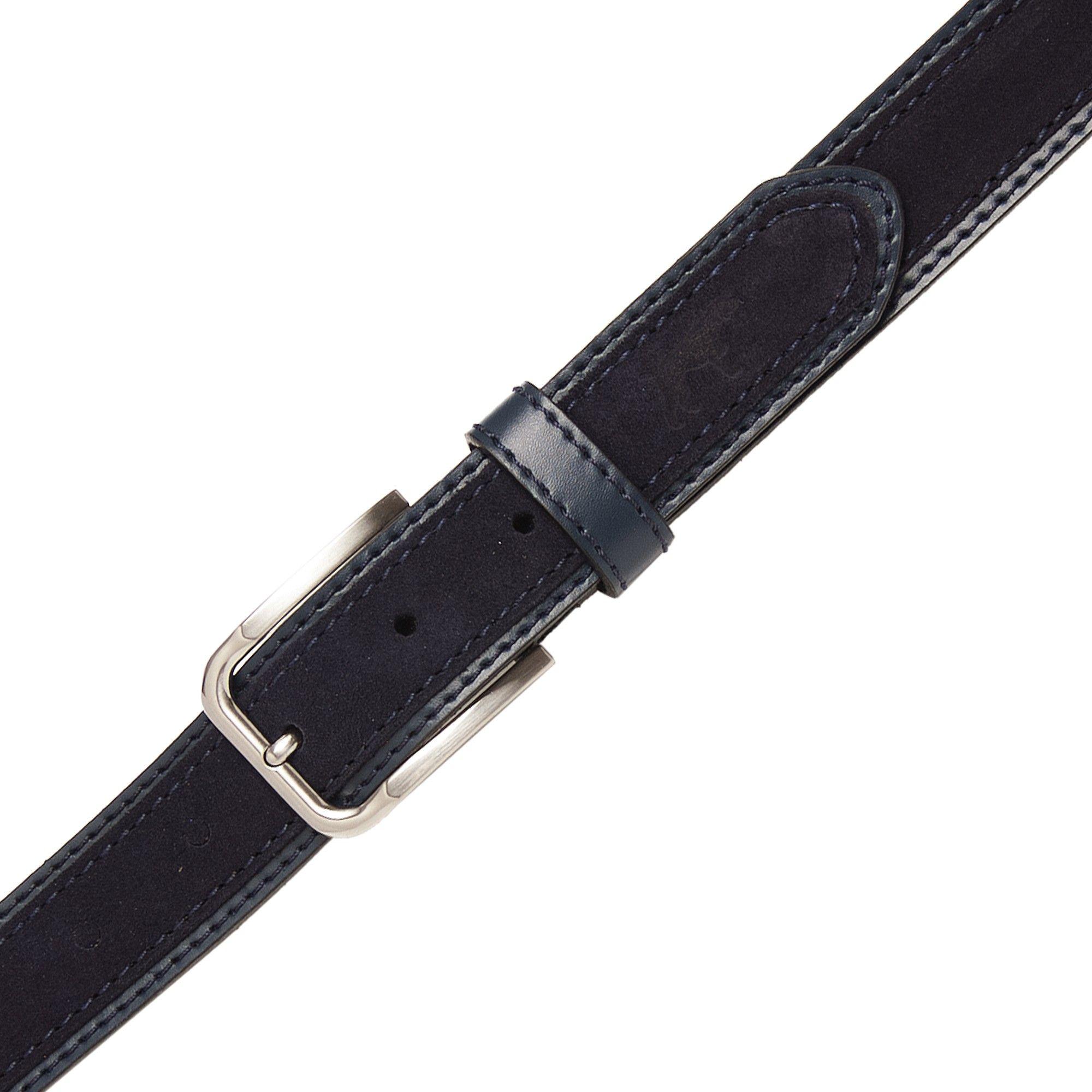 Navy leather engraved belt