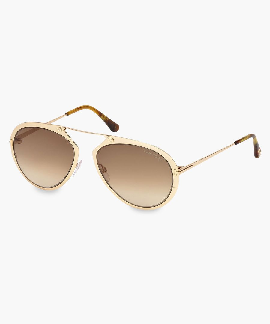 Brown and gold-tone aviator sunglasses