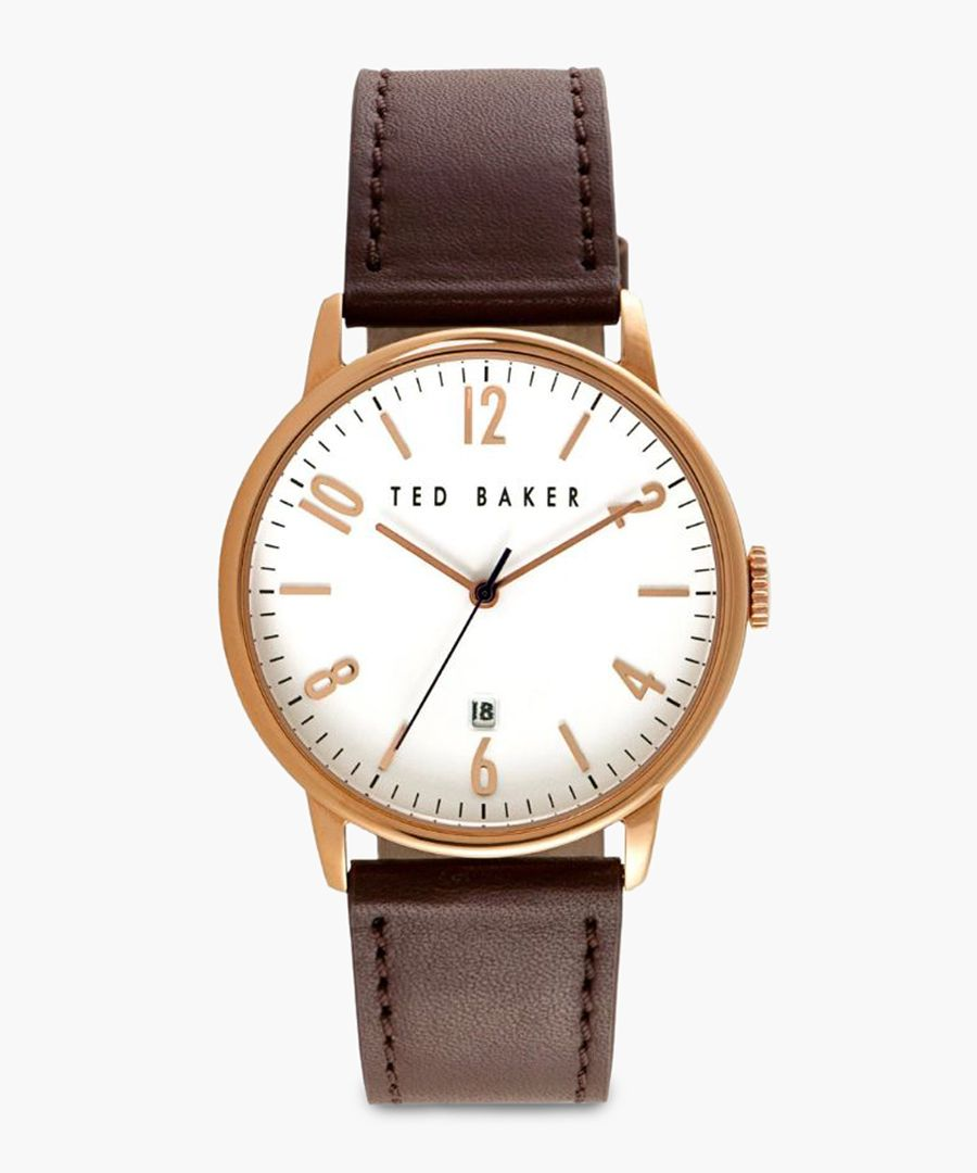 Brown leather and PVD rose gold-plated watch