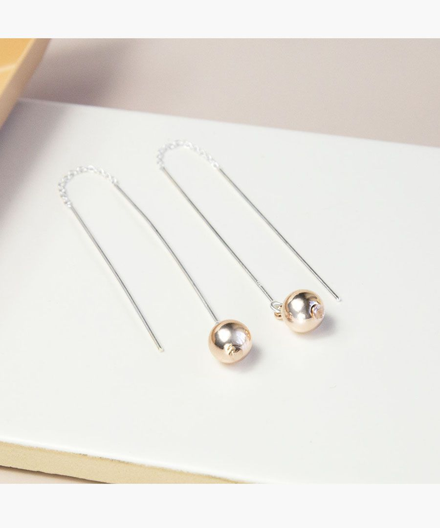 Sterling silver, rose gold-plated drop earrings
