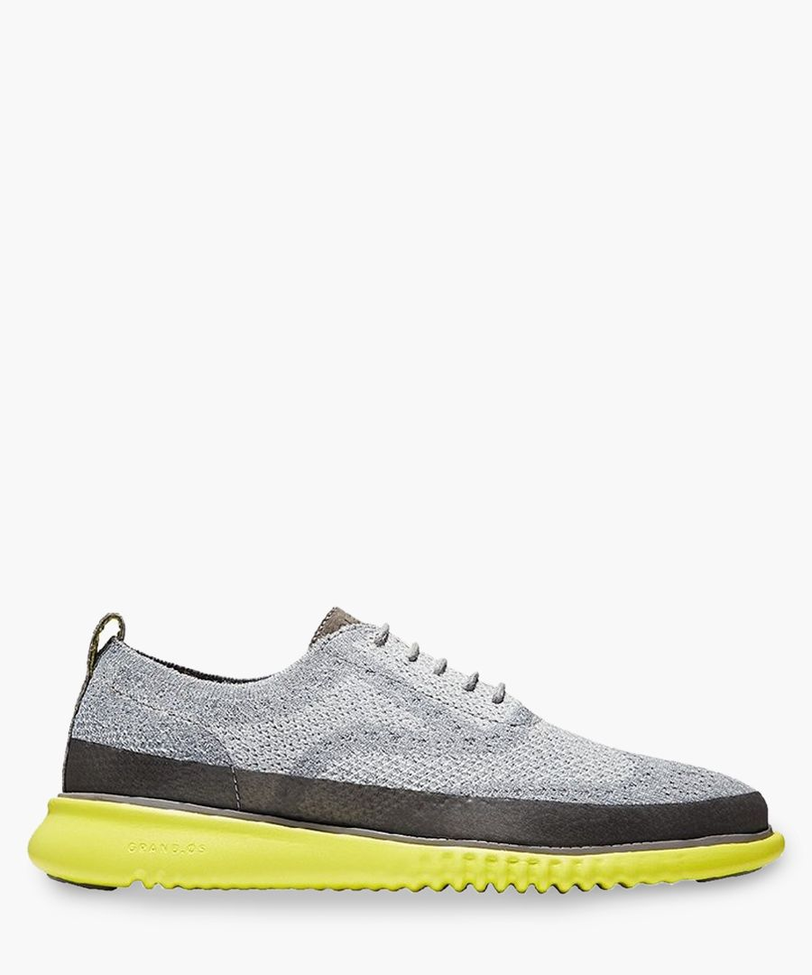 Mens grey knit Oxford shoes