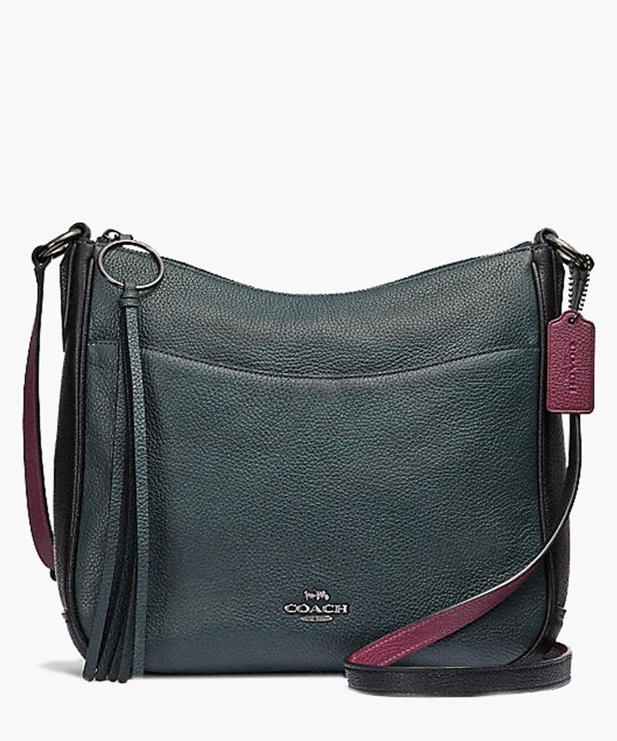 Cypress teal leather messenger bag