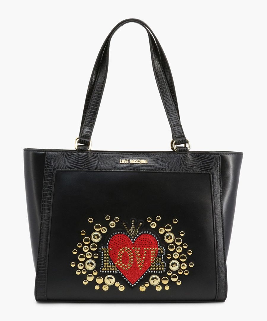 Black faux-leather grab bag