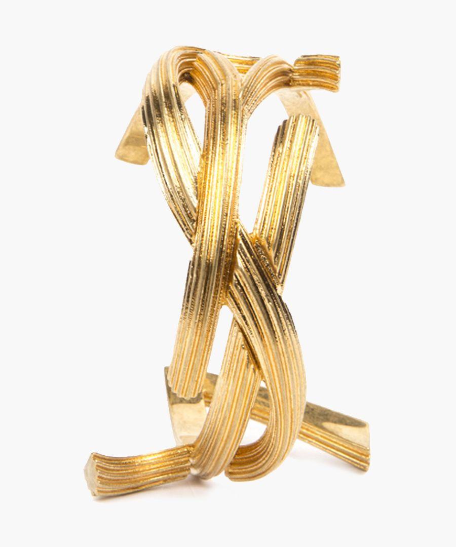 Gold-tone metal monogram shaped bracelet
