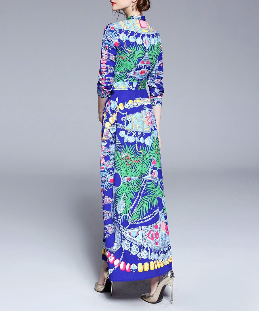 Multi-colour leaf print tie maxi dress