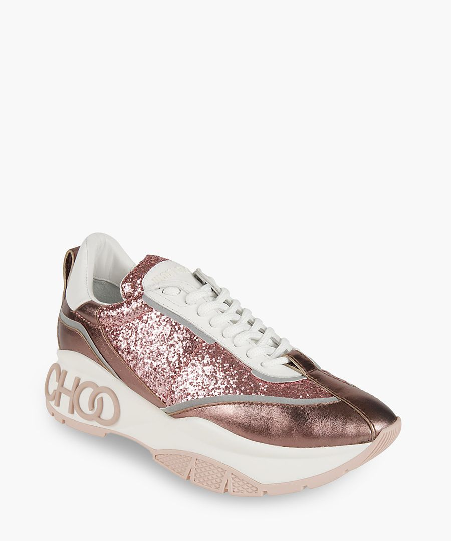 Raine pink neoprene and leather trainers