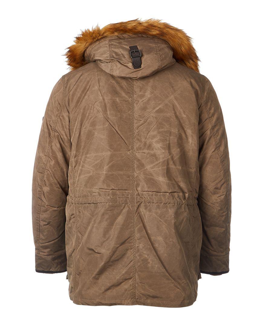 Brown faux fur hood Arctic parka