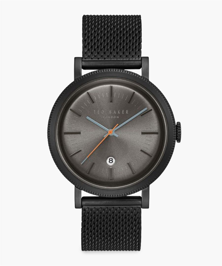 Connor black iron plated stainless steel watch