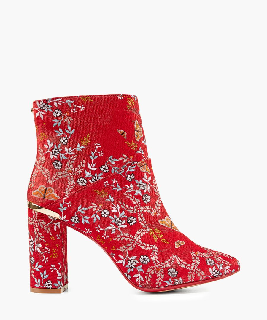 Ishbel red and gold-tone floral jacquard ankle boot