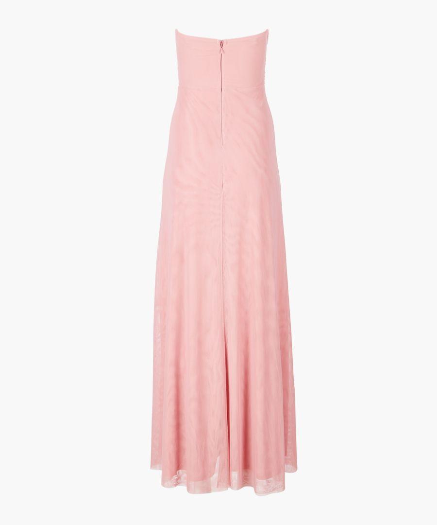 Dusky rose bandeau maxi dress