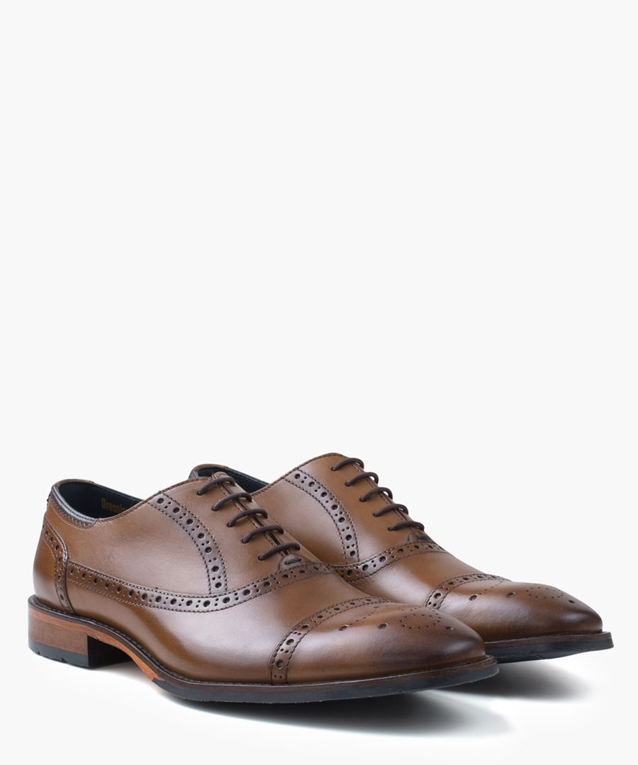 Tan leather Oxford shoes