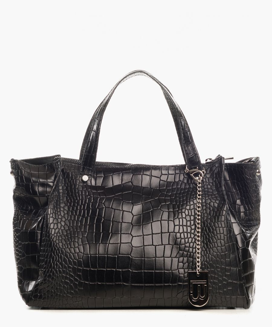 Montepulciano black leather shopper