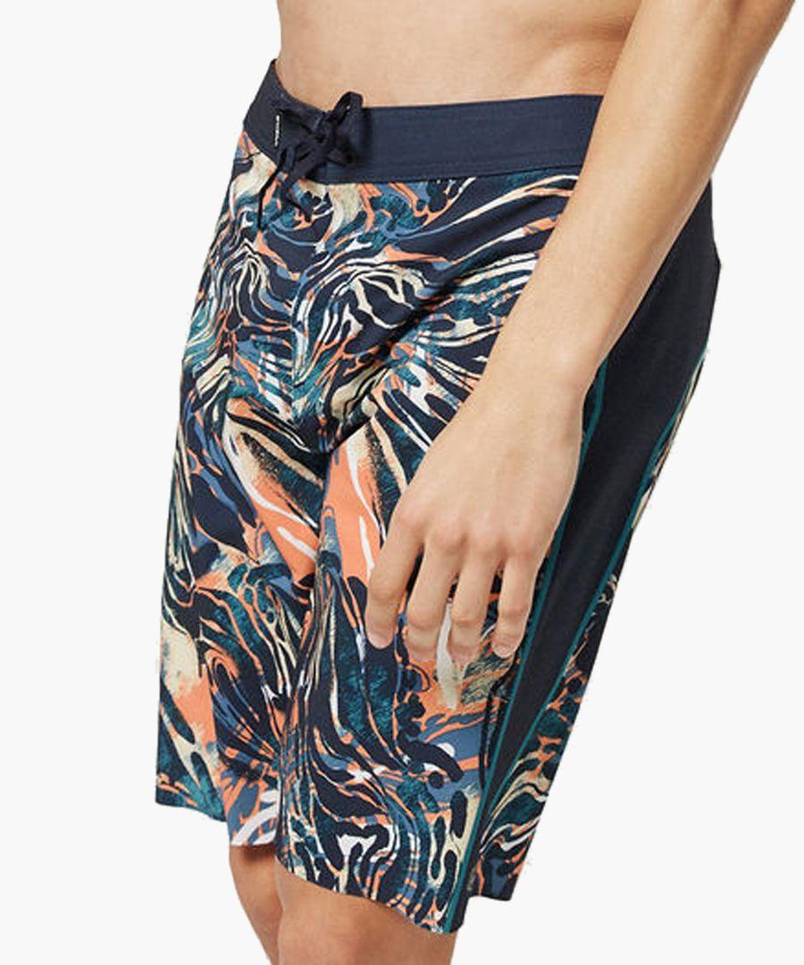 Blue abstract printed shorts