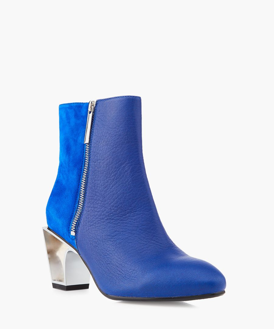 Icon sax suede and leather mid-heel boots
