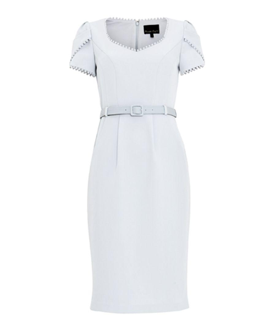Alva pale blue belted short sleeve dress