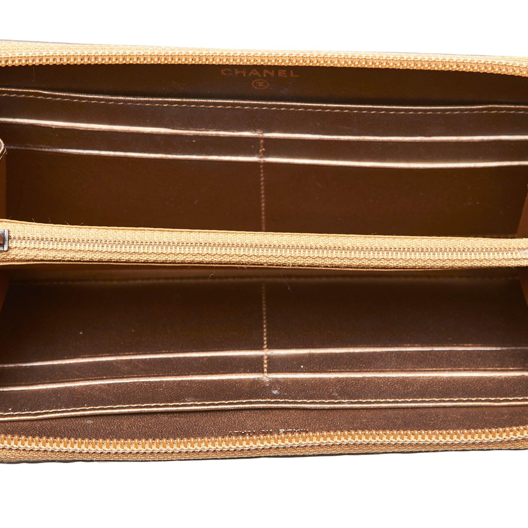 Vintage Chanel Embossed Leather Long Wallet Brown