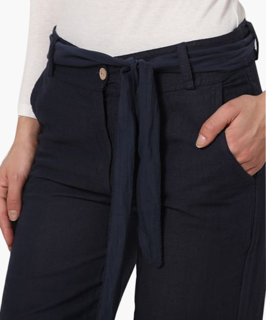 navy pure linen tie trousers