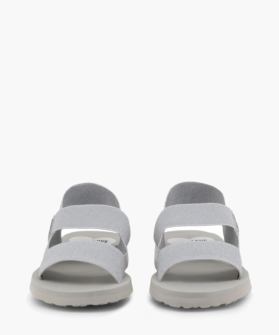 silver-tone fabric panel sandals